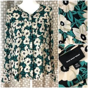 WHO WHAT WEAR Green Floral Blouse Top Button Up M